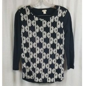 J Crew Black White Embroidered 3/4 Sleeve Top S